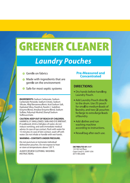 Greener Cleaner Laundry Pouches | Dr Mercola | 24 Pouches label