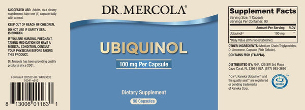 Ubiquinol 100mg | Dr Mercola | 90 Capsules label