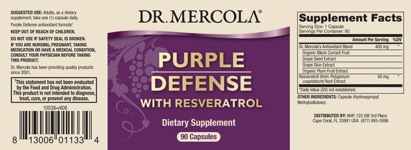 Purple Defense | Dr Mercola | 90 Capsules label