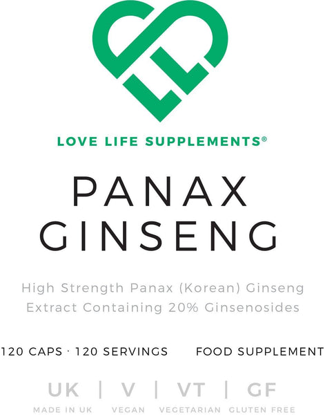 Panax Ginseng | Love Life Supplements | 120 Capsules - Oceans Alive Health