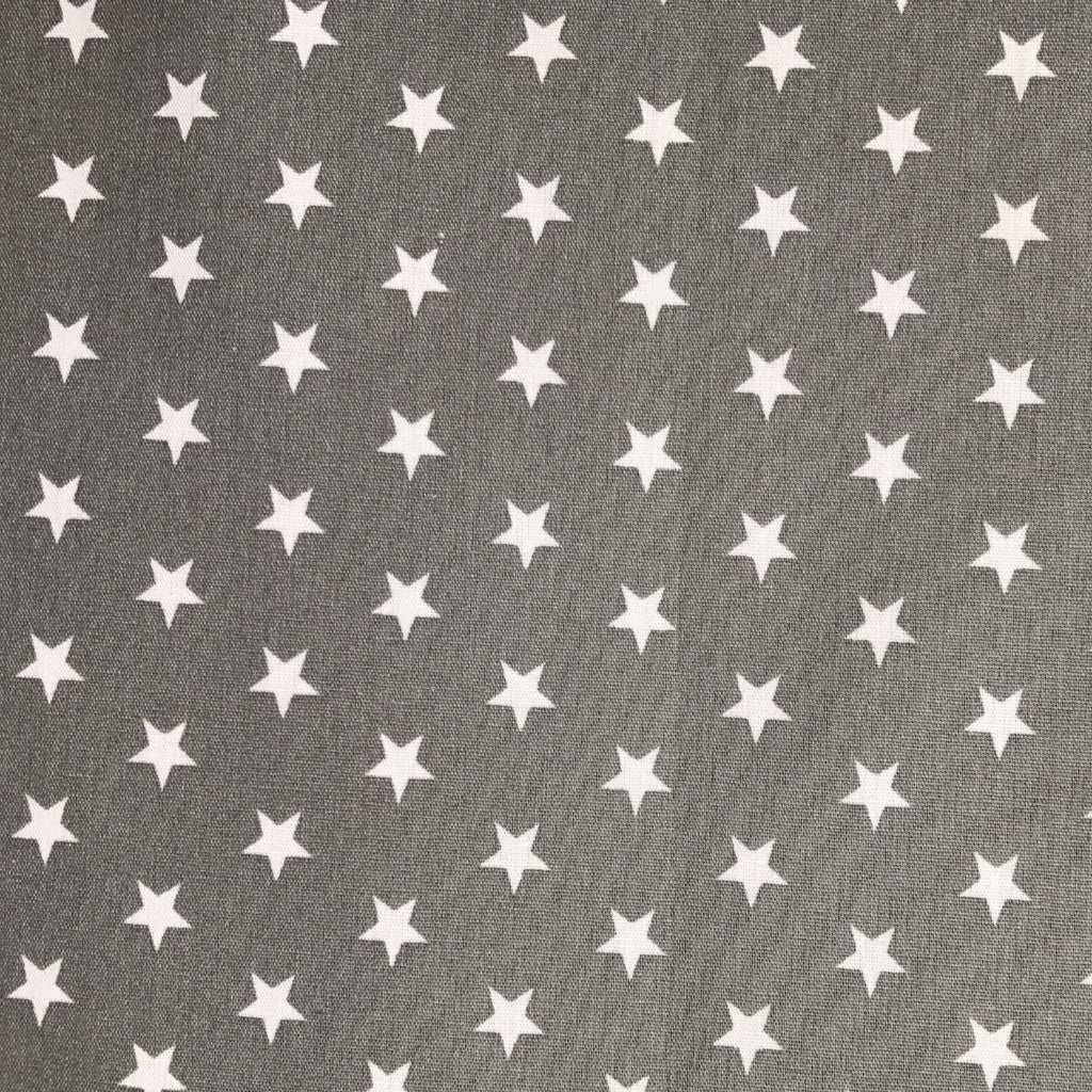 White Stars on Grey fabric