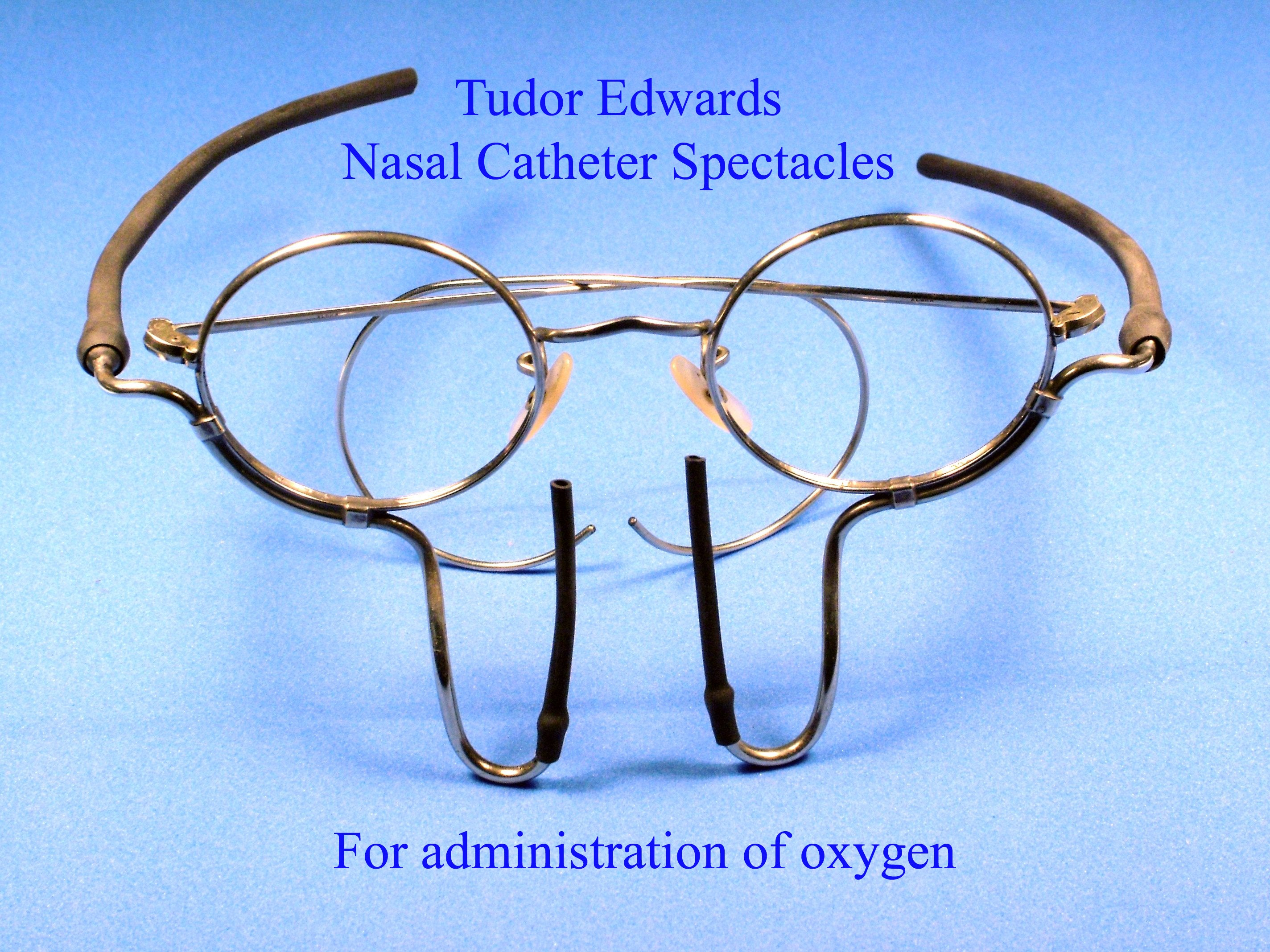 nasal catheter spectacles to administer oxygen