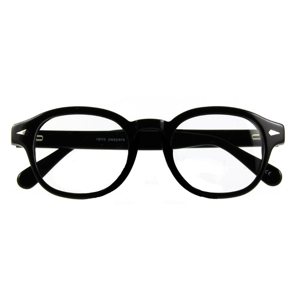 mens 50s style glasses in black, folded