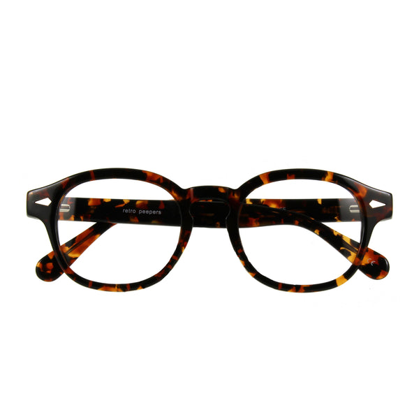 mens 50s style tortoiseshell glasses, folded