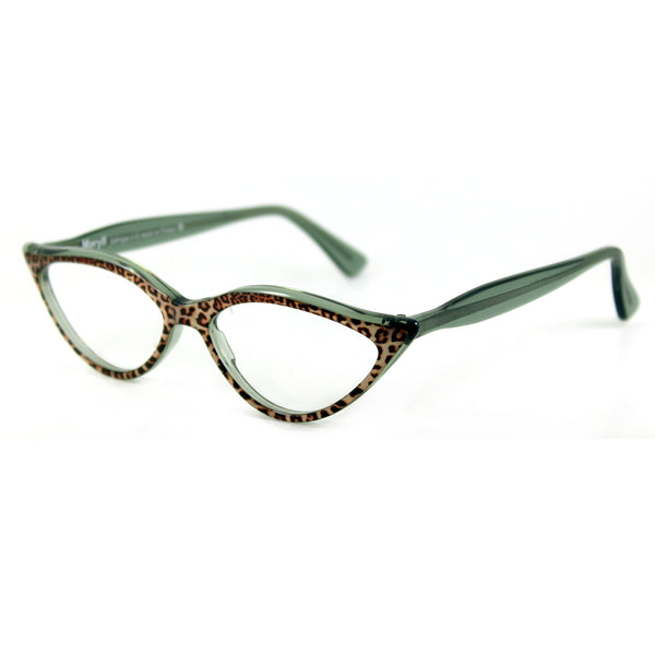 Retropeepers Amelie in Jaguar animal print, 50's style cat eye glasses, side view