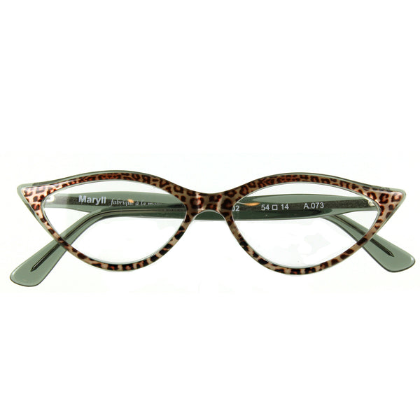 Retropeepers Amelie in Jaguar animal print, 50's style cat eye glasses, folded