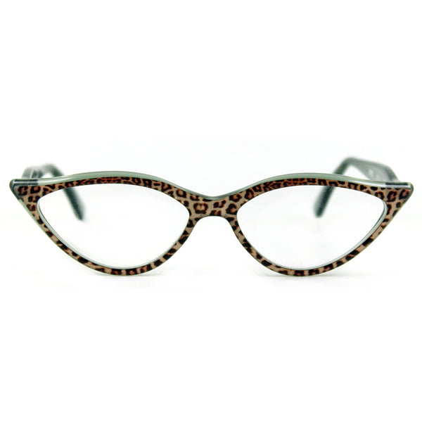 Retropeepers Amelie in Jaguar animal print, 50's style cat eye glasses, front view
