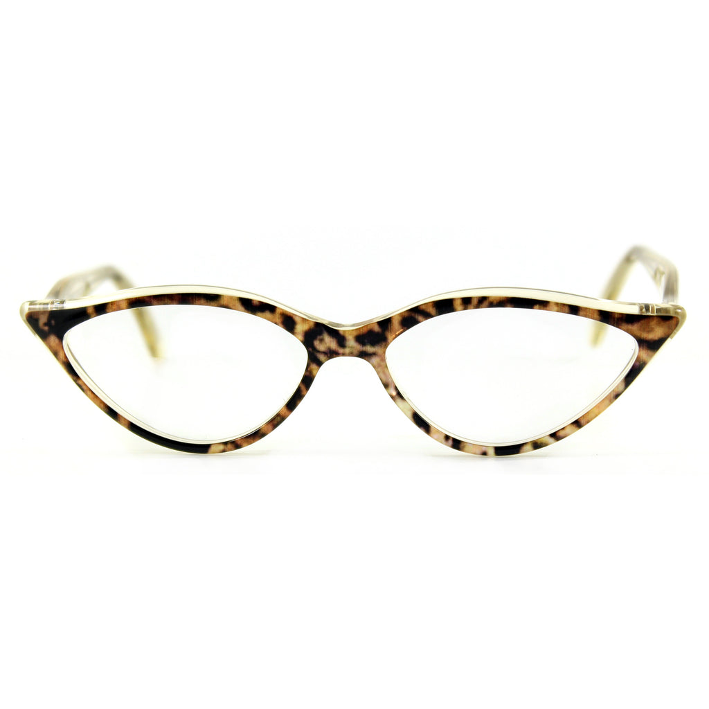 Retropeepers Amelie in Ocelot Crystal, 50's style cat eye glasses, front view