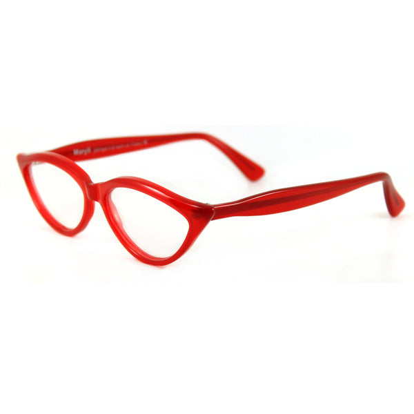 Retropeepers Amelie in Red, 50's style cat eye glasses, side view