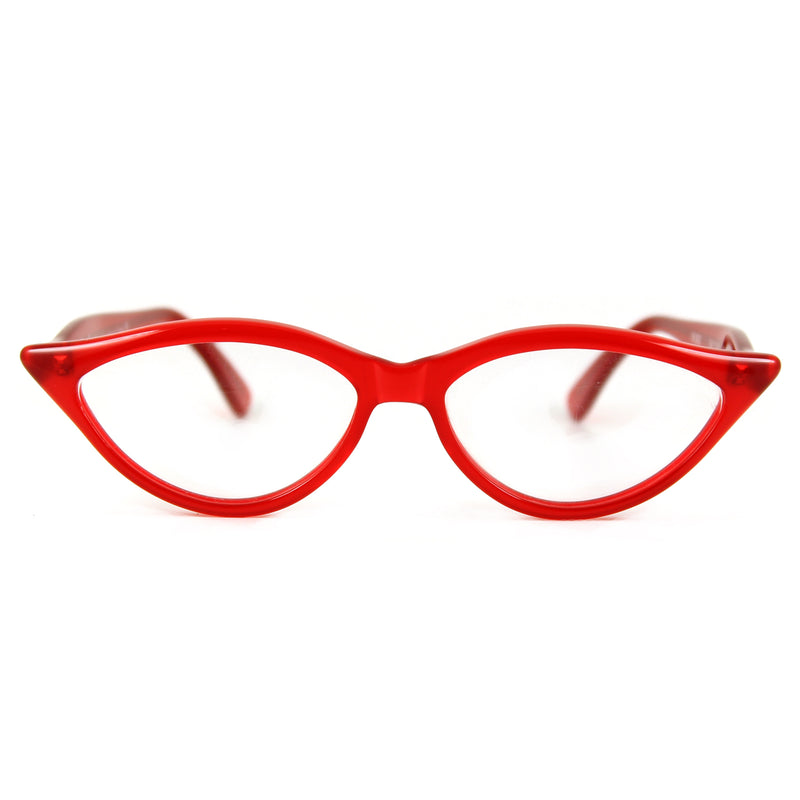 Retropeepers Amelie in Red, 50's style cat eye glasses, front view