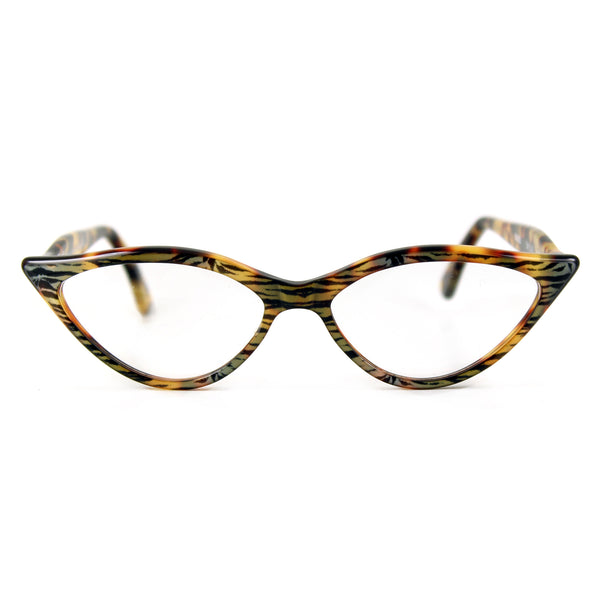 Retropeepers Amelie - Tiger Tortoiseshell, 50's style cat eye glasses, front view