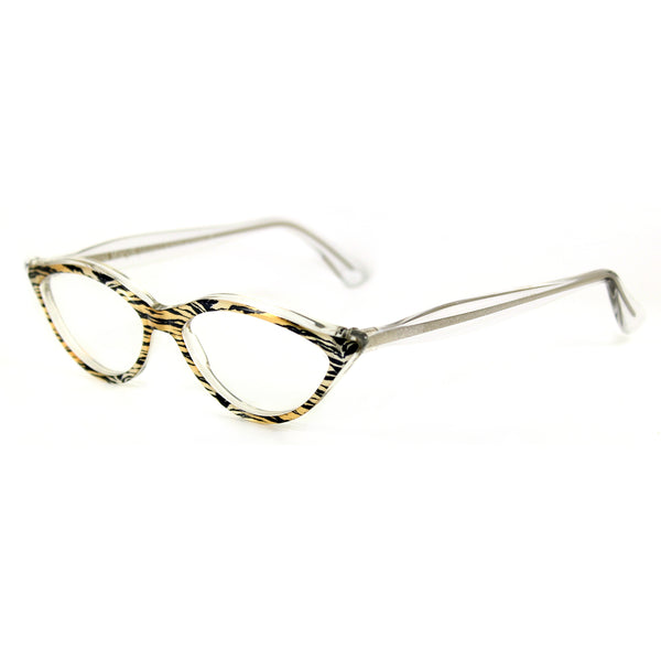 Retropeepers Amelie 50's style cat eye glasses in Tiger Crystal, side view