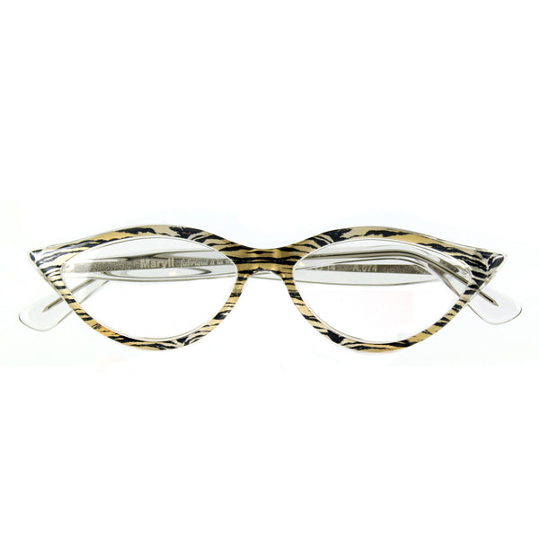 Retropeepers Amelie 50's style cat eye glasses in Tiger Crystal, folded