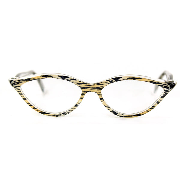 Retropeepers Amelie 50's style cat eye glasses in Tiger Crystal, front view
