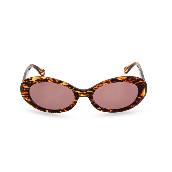 Anglo American Optical 'Beat' - Oval Sunglasses, Amber Black
