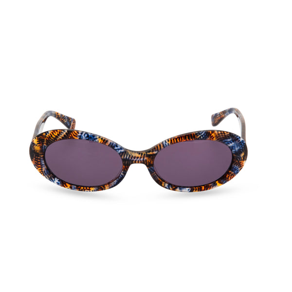 Anglo American Optical 'Beat' - Oval Sunglasses, Blue Amber