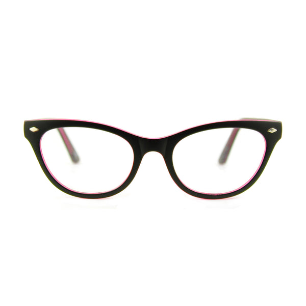 Belle Cat Eye Glasses - Black / Pink