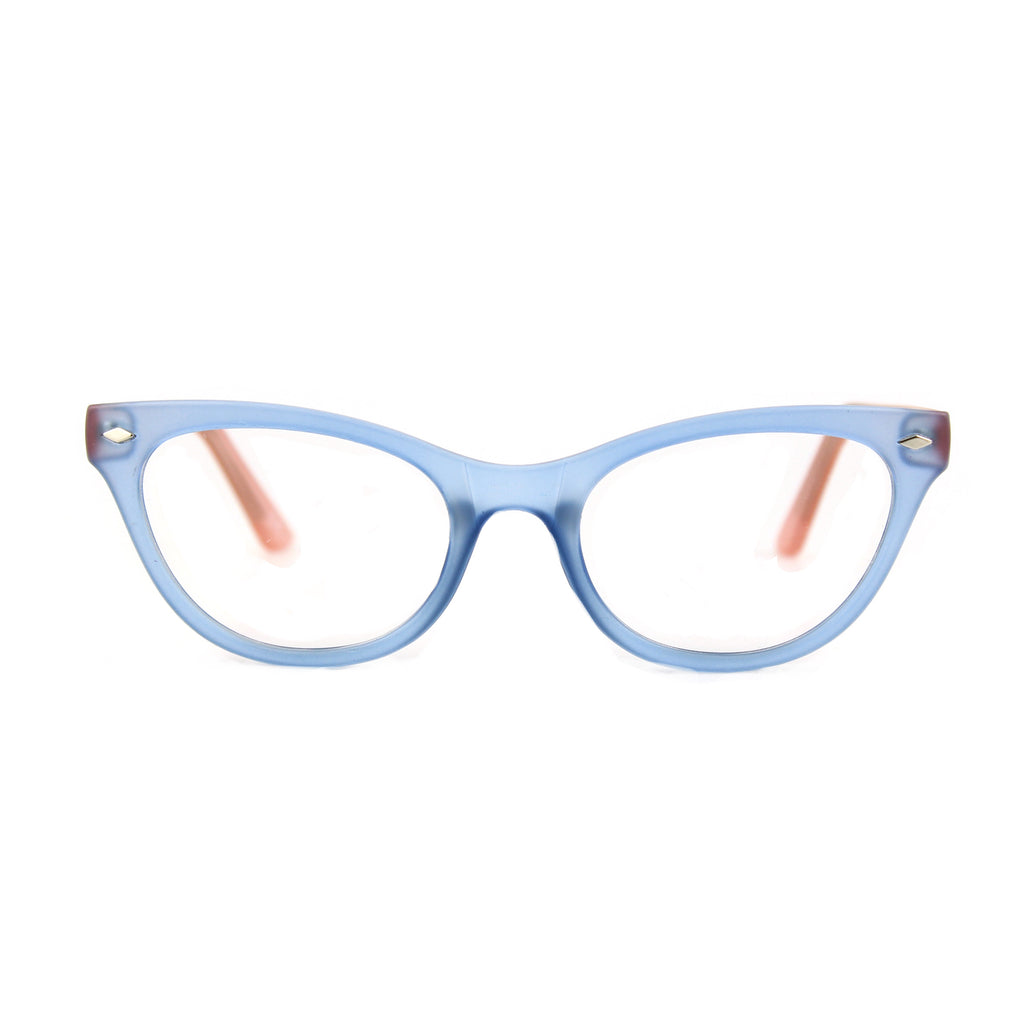 Belle Cat Eye Glasses - Blue / Pink