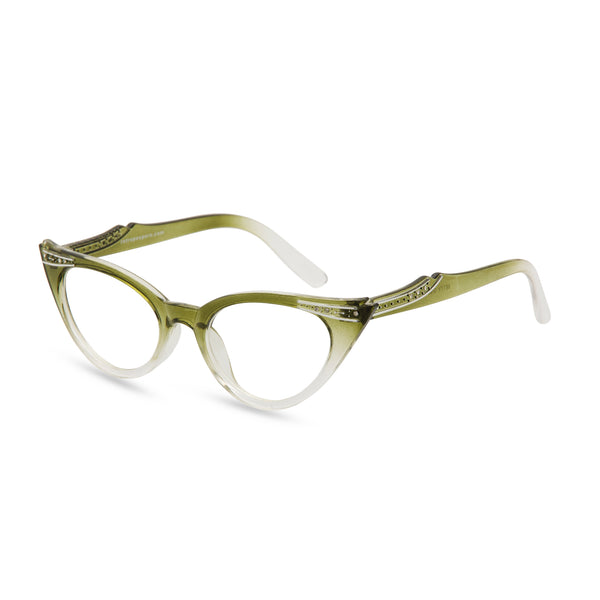 Retropeepers Betty Olive cat eye glasses side view