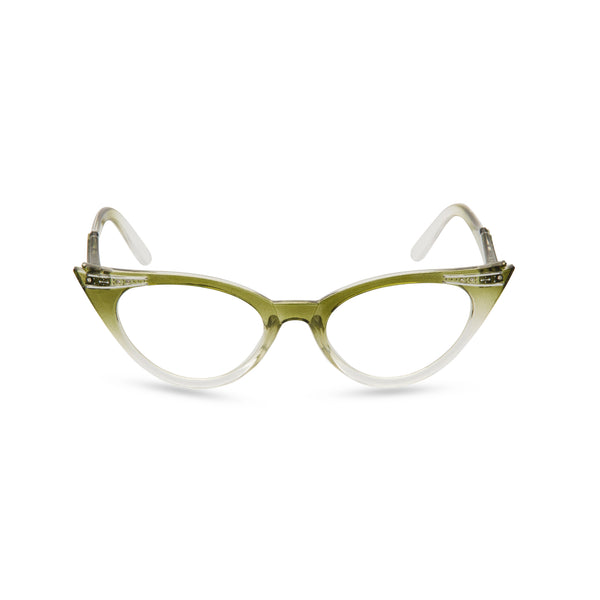 Retropeepers Betty Olive cat eye glasses front view