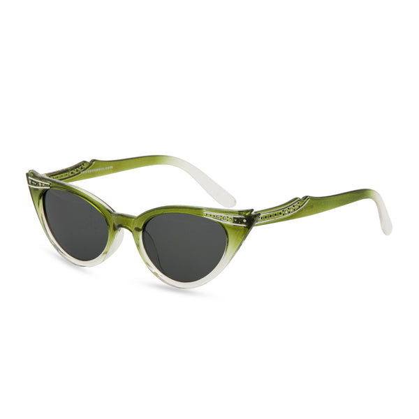 Retropeepers Betty Olive cat eye sunglasses side view