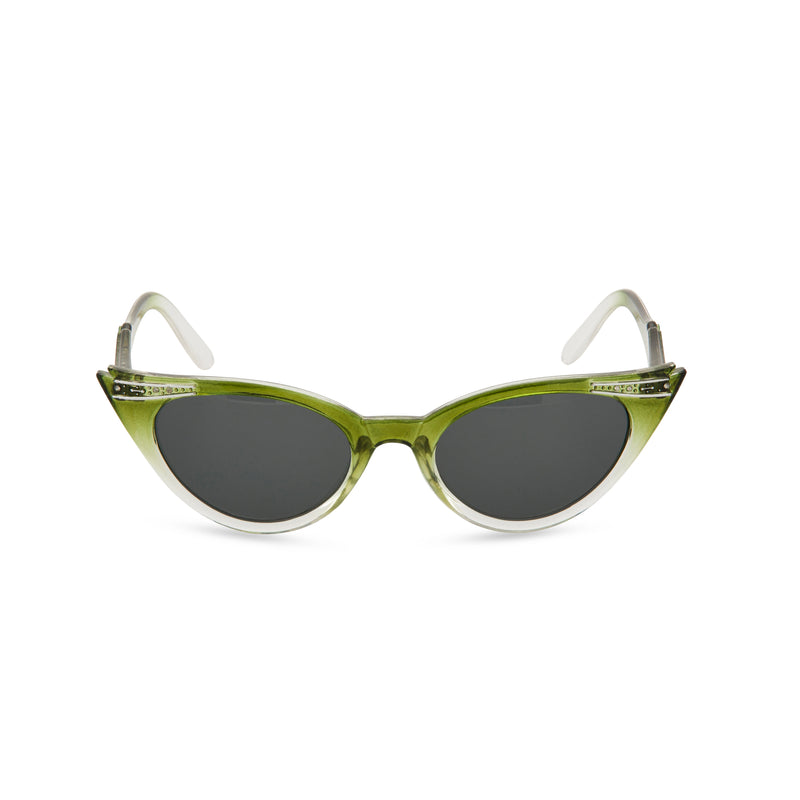 Retropeepers Betty Olive cat eye sunglasses front view