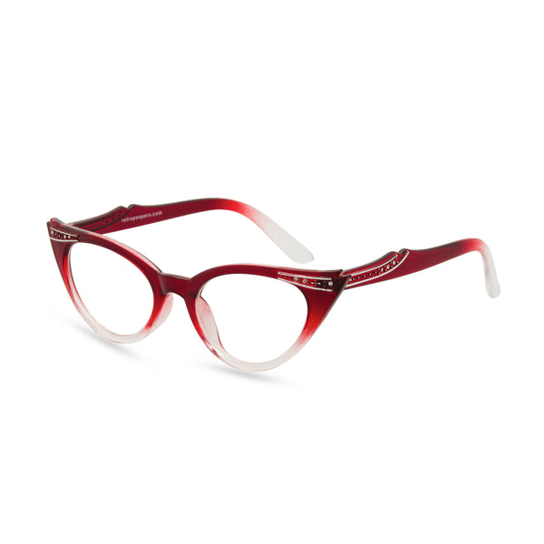 Retropeepers Betty Red Crystal cat eye glasses side view