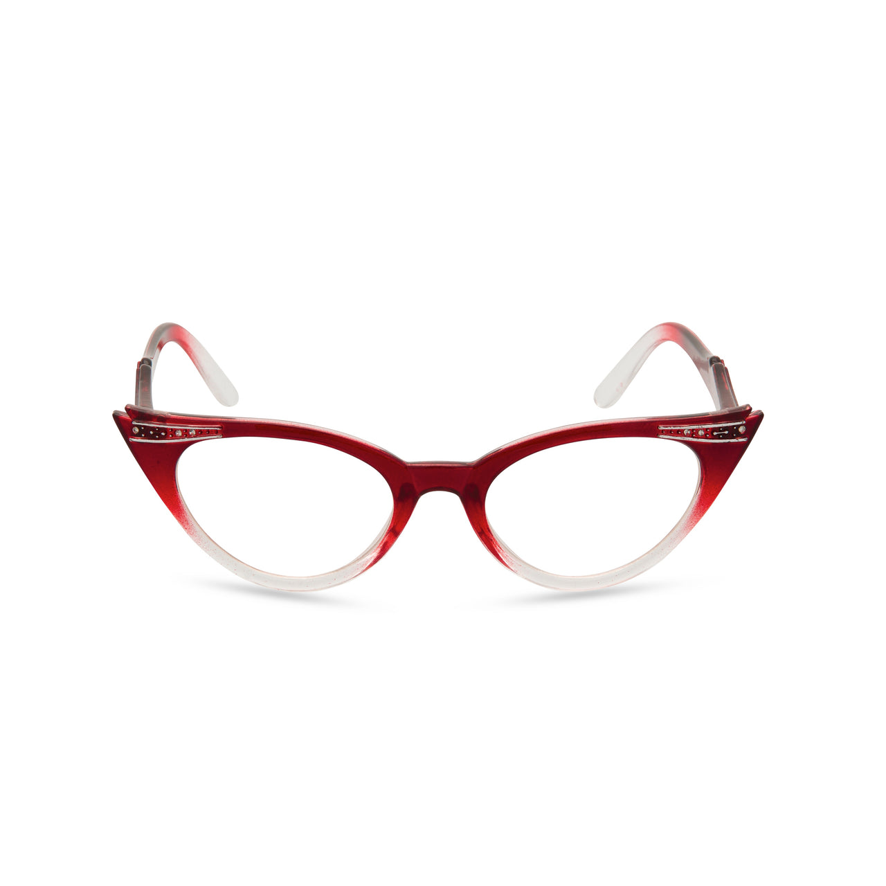 Retropeepers Betty Red Crystal cat eye glasses front view