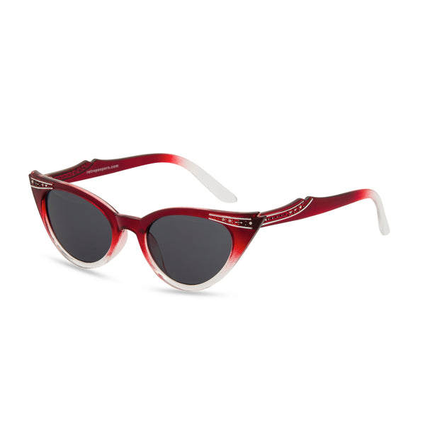 Retropeepers Betty Red Crystal cat eye sunglasses side view