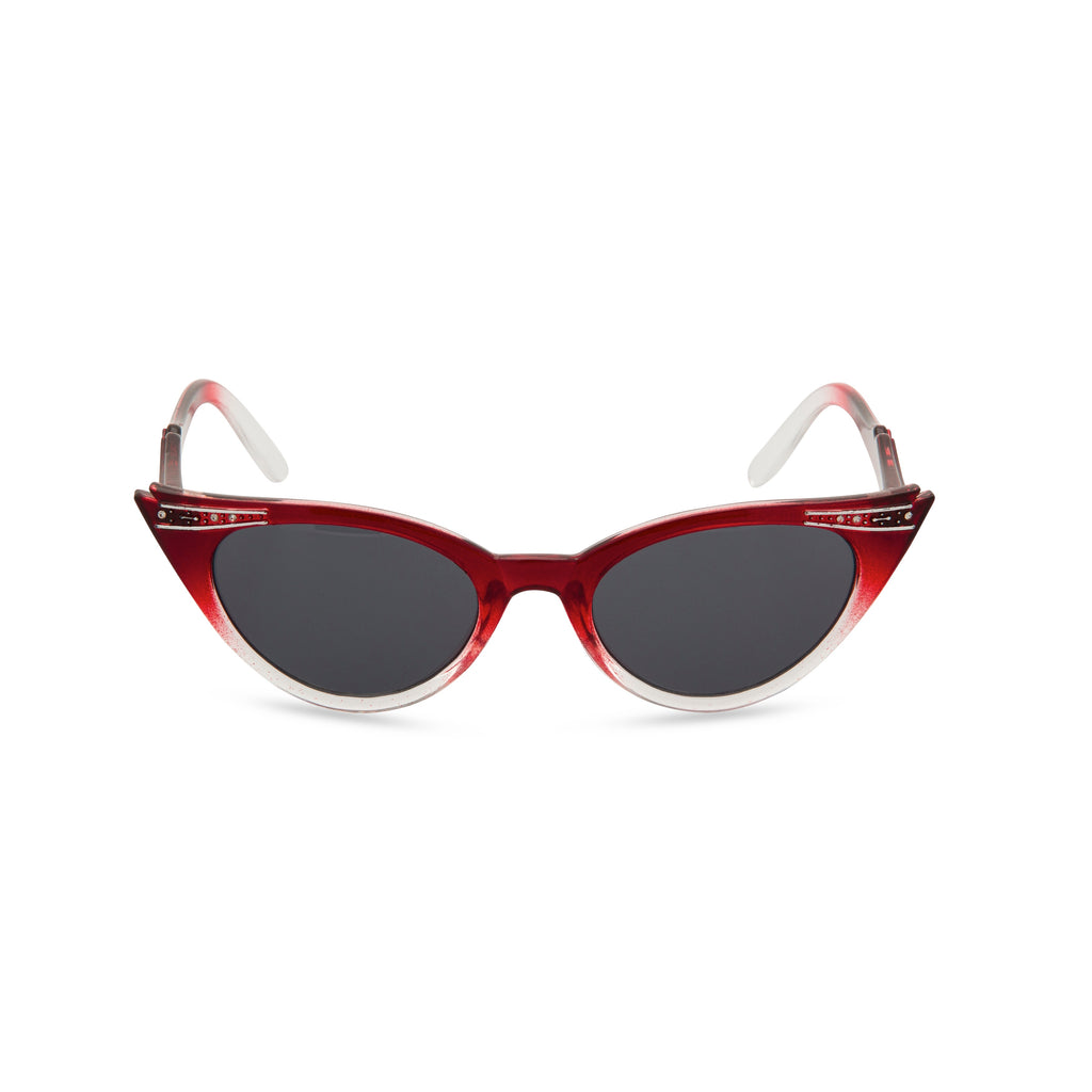 Retropeepers Betty Red Crystal cat eye sunglasses front view