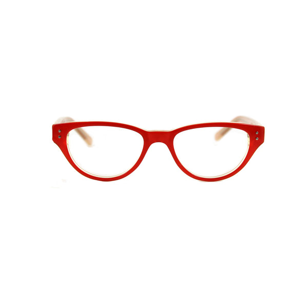 Britt Cat Eye Glasses - Red / Champagne