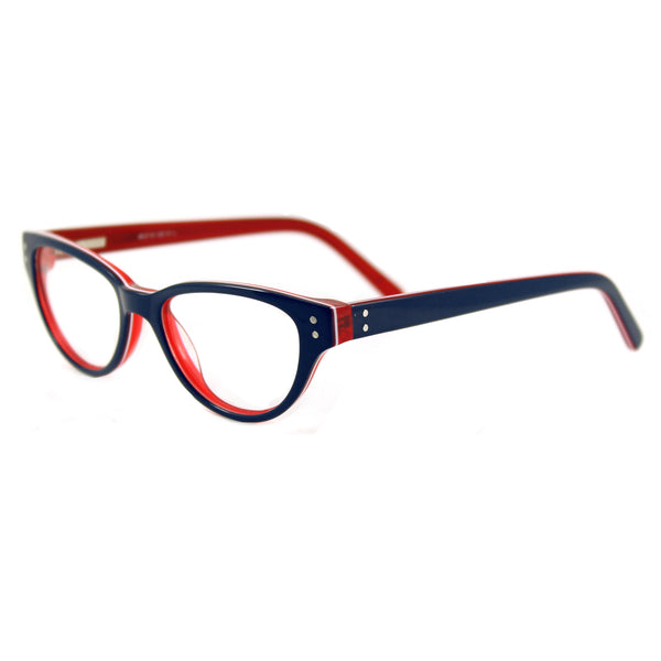 Britt Cat Eye Glasses - Blue / Red