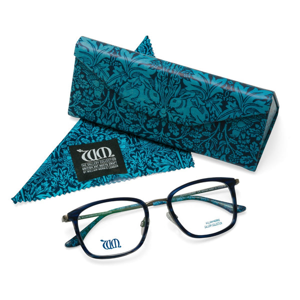 Brother Rabbit in blue frames with matching case and cloth from the William Morris Gallery Collection