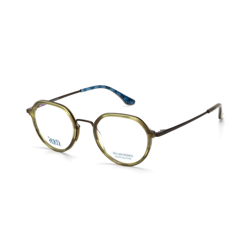 Brother Rabbit round frames in browny green acetate from the William Morris Gallery Collection, side view