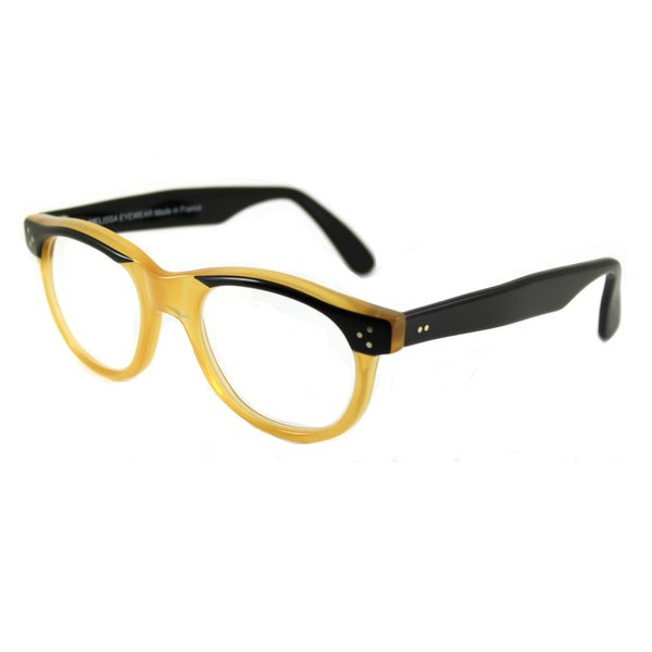 Carey Large Square Glasses - Black / Amber
