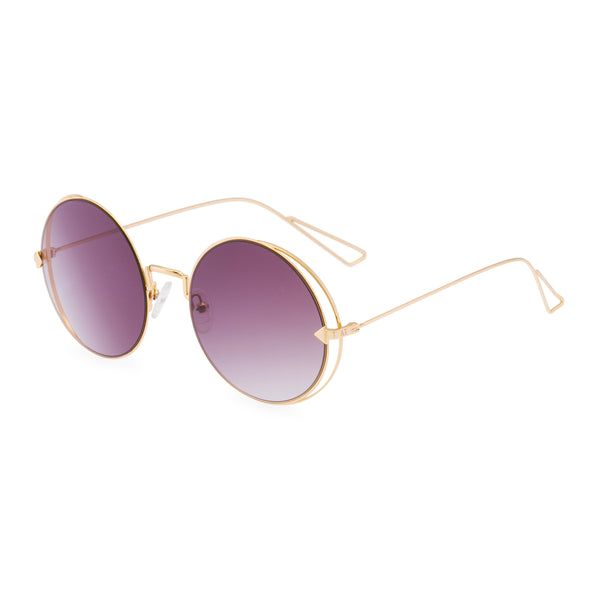 Christie Round Sunglasses - Gold / Rose Pink Lens