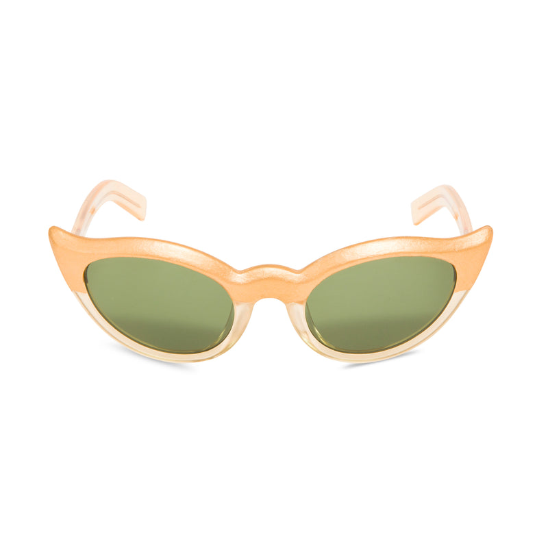 Frida Kahlo gold sunglasses front