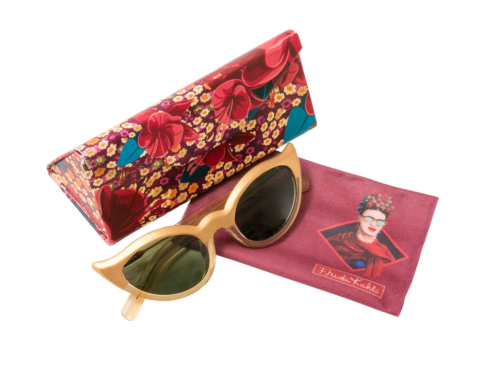 Frida Kahlo Eyeglass case fuchsia with sunglasses