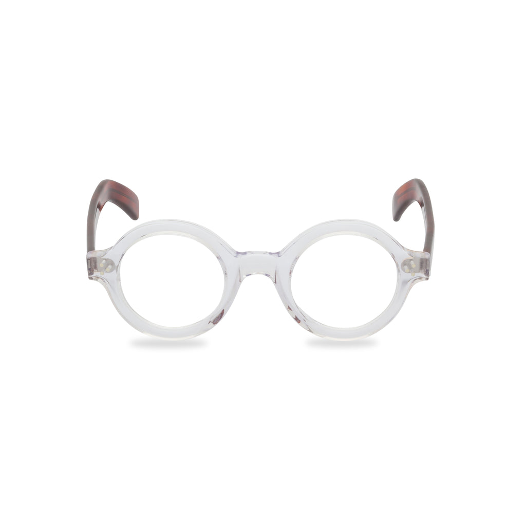 Gene Round Glasses - Crystal / Deep Amber