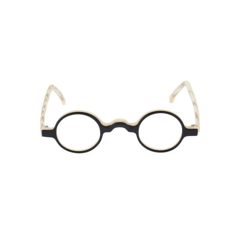 Groucho Round Glasses - Black / Cream