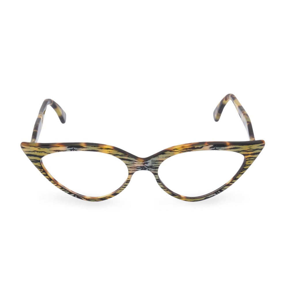 Retropeepers Jeanne Tiger Tortoiseshell, 50's style cat eye glasses, front view