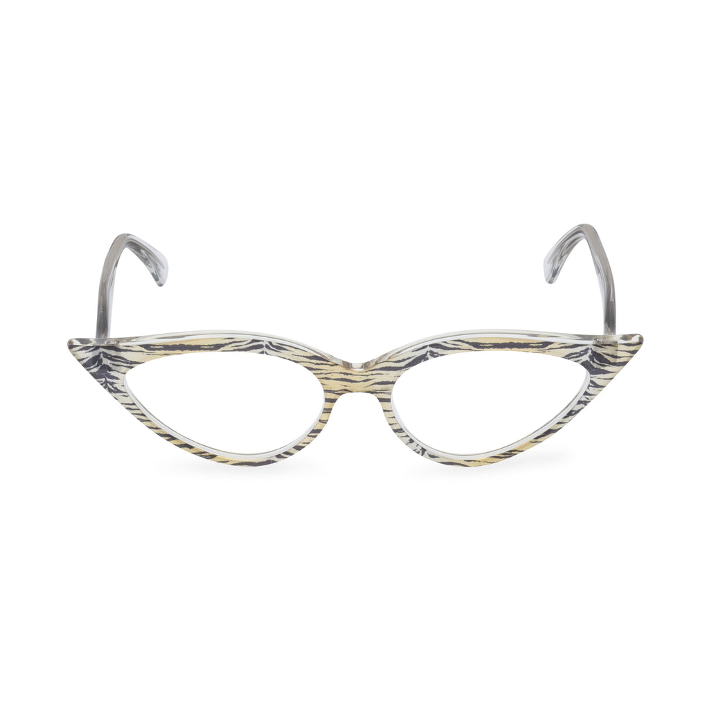 Retropeepers, Jeanne in Crystal Tiger, 50's style cat eye glasses, front view