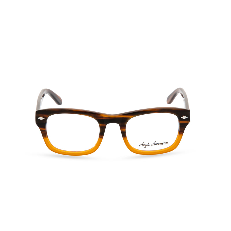 Anglo American Optical 'Knebworth' - Rectangular Glasses, 2 Tone Brown