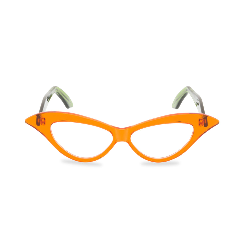 Lady M Cat Eye Glasses - Crystal Tangerine with Green