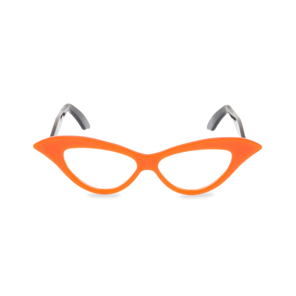 Lady M Cat Eye Glasses - Tangerine with Black