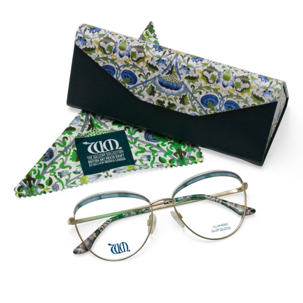 Lodden round glasses  in blue with matching case and cloth from the William Morris Gallery Collection