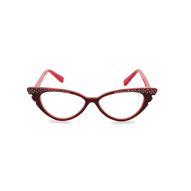 Marilyn Cat Eye Glasses - Wine Red