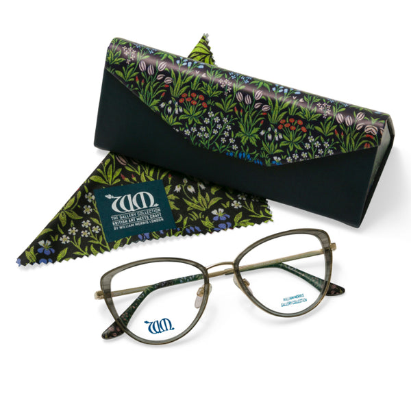 Millefleurs frames in Green from the William Morris Gallery Collection with matching case and cloth
