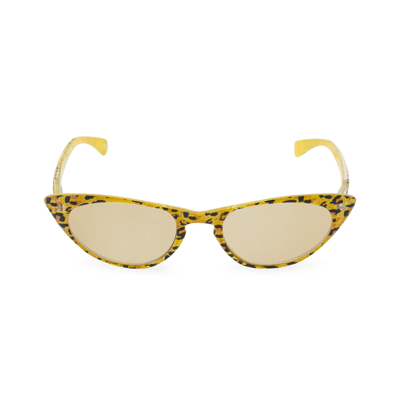 Peggy Cat Eye Sunglasses - Yellow Leopard