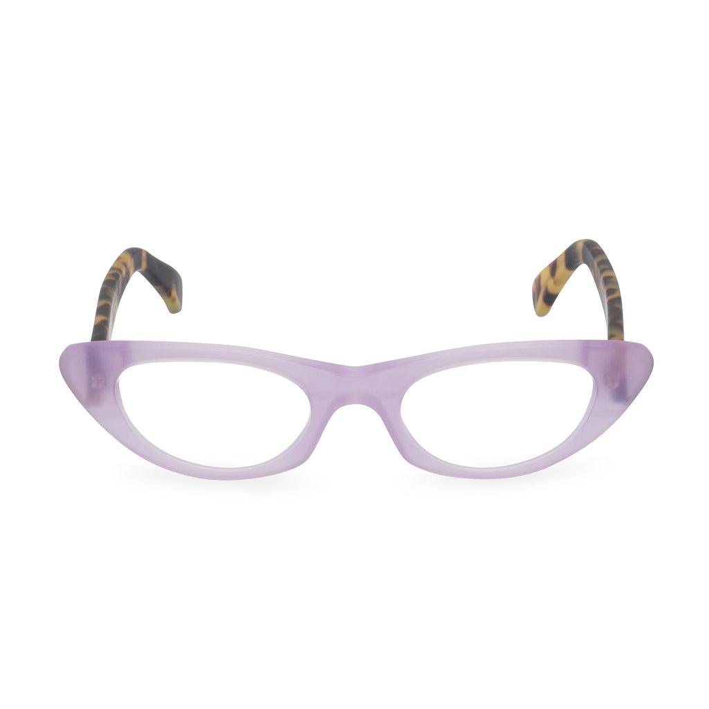 Pussy Galore Cat Eye Glasses - Lilac / Tortoiseshell